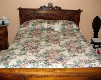 Victorian Antique Burled Walnut Bed
