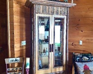 Amazing Tall Log Curio Cabinet!