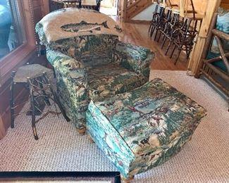 Wilderness hunting scene Upholstered Chair & Ottoman