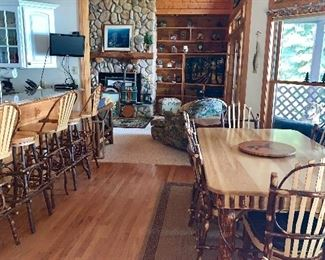 Rustic Table and Chairs.  Matching Barstools with and without backs