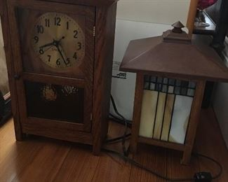 Stickley Clock and Mission style lamp