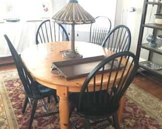 Pine Table with 2 leaves. 4 Windsor Chairs.  Oriental Rug