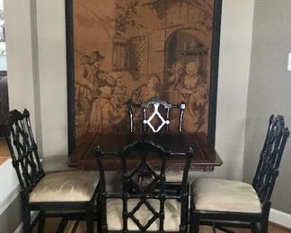 Antique English game table and four chinoiserie chairs