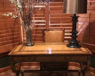 Kreiss desk and Palecek rattan chair