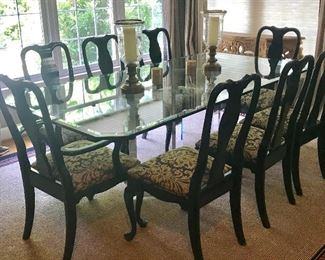 Custom glass and Lucite dining table and eight Queen Anne style black lacquered chairs