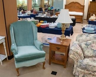 Love the color of these wing back chairs - we have two - and both in excellent condition.