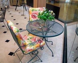 Wrought iron green patio set - adorable!