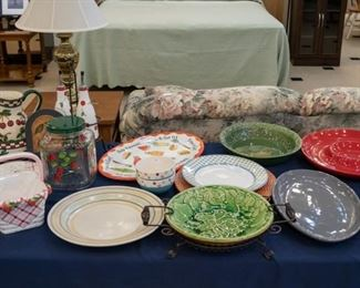 More serving pieces and kitchen decorative.