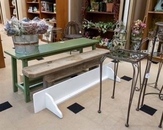 Outdoor benches, plant stands, long shelf....