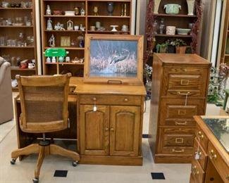 Desks, filing cabinet, desk chair