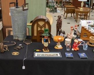 Vintage Sprayer, Ice Tongs, Tube Radio, and other collectibles.