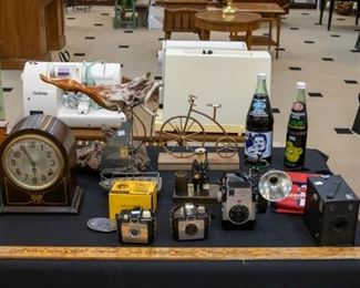 Vintage cameras, working Plymouth 8 day clock....