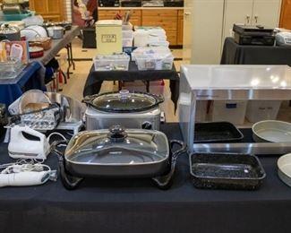 Sharp Carousel Microwave, Cuisinart crock pot, KitchenAid hand mixer, Rival electric food slicer...