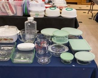 Covered glass containers (Martha Stewart & Pyrex), Corning Ware, bake ware, glass refrigerator jar, glass measuring cups and mixing bowl