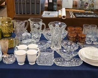 Misc. vintage glassware, pretty pitchers, etc.