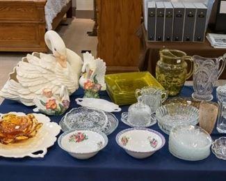 Fitz & Floyd candle holders, Swan planter, etc.