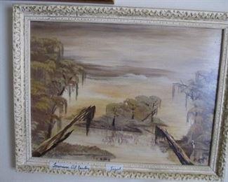 Louisiana Oil Painting Swamp Scene Signed