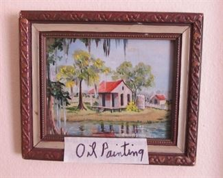 Oil Painting Louisiana Bayou Scene Signed on Reverse