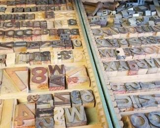 Antique printing press letters...several trays full of various sizes