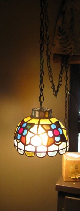 1960's Stained Glass Hanging Lamp