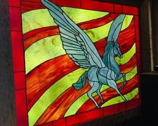 Large Pegasus stained glass by artist Randy Fuller