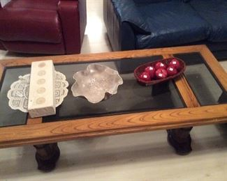 wood and smoky glass coffee table, resembles a door, very cool