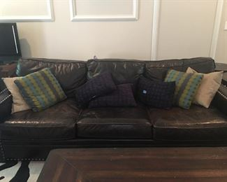 Full size leather BERHARDT Sofa and there is a matching loveseat