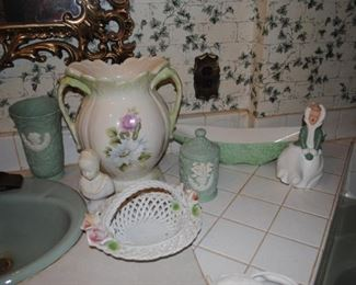 2 handle ceramic container, green cameo pieces, Shawnee green planter and ceramic winter girl