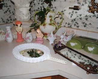 dresser mirrors, Avon figurine decanters, 3 pc tissue and soap set, gorgeous 2 handle ceramic container and other porcelain pieces