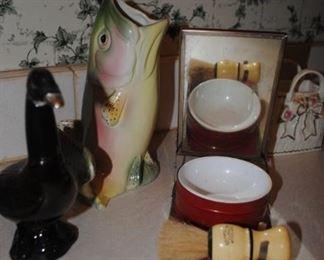 Wonderful fish pitcher, Duck Avon decanter and men's shave set