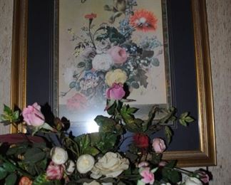 Great prints throughout the house as well as silk arrangements