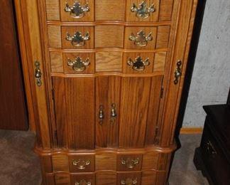 Oak large jewelry armoire