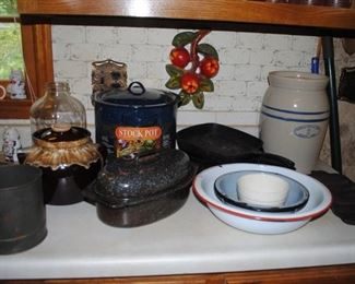 RRP Co bean pot, Wagner Ware cast iron and others, granite and porcelain ware and Marshall Pottery Co 2 gallon churn