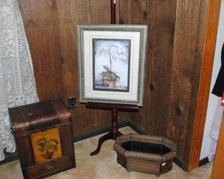 trunk and basket wood/wicker, wood easel and ornate frame and picture