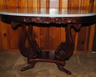Reproduction Victorian table from the 80s - Italian marble top