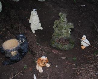 Collection of animals for the garden - concrete squirrel planter/birdbath