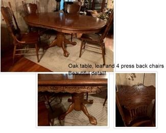 Oak Table, leaf and chairs - beautiful detail