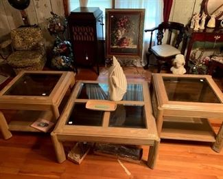 Bleached Wood coffee table and end tables - there is a sofa table also!  Great for your beach decor - very heavy and made in the USA
