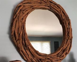 Large round driftwood mirror, Pottery Barn