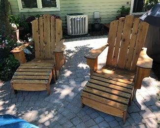 Adirondack chairs, handmade with footstools