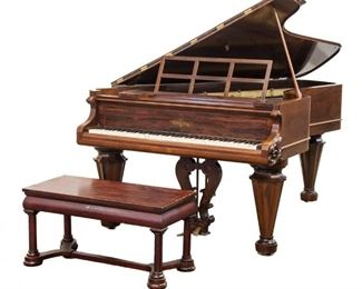 "CHICKERING ""COCKED HAT"" GRAND PIANO American, mid 19th century, Brazilian rosewood."