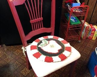 Cute kitchen chairs, red with cushioned seat