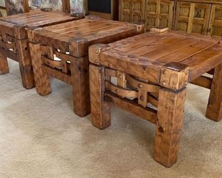 Rustic Hammered Wood Custom End Table, 3 available