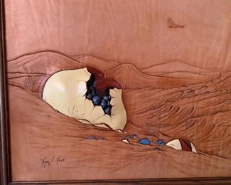 Roger and Marie Kull Carved Leather Art #121x24in