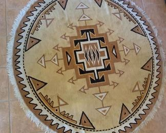 Southwest Native American Oval Rug68x65in