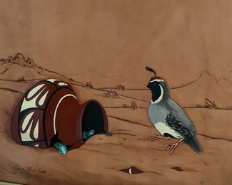 Roger and Marie Kull Carved Leather Art Quail Turquoise #74
