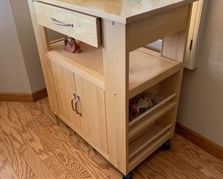 Rolling Natural Maple Kitchen Cart 34x31x18inHxWxD