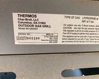 Thermos Char-Broil Propane Grill 461262407