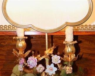 French porcelain flower lamp