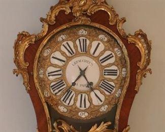 Large 19th c.. Rococo Bronze Dore Mantel Clock after Alexandre Le Faucheur (d. 1773)